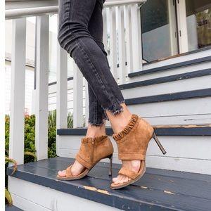Shoes - ✨Vegan Suede Open Toe Heels